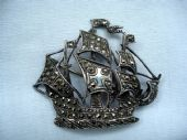 Sterling Silver and Marcasite Galleon Brooch- 1940's Era  (sold)
